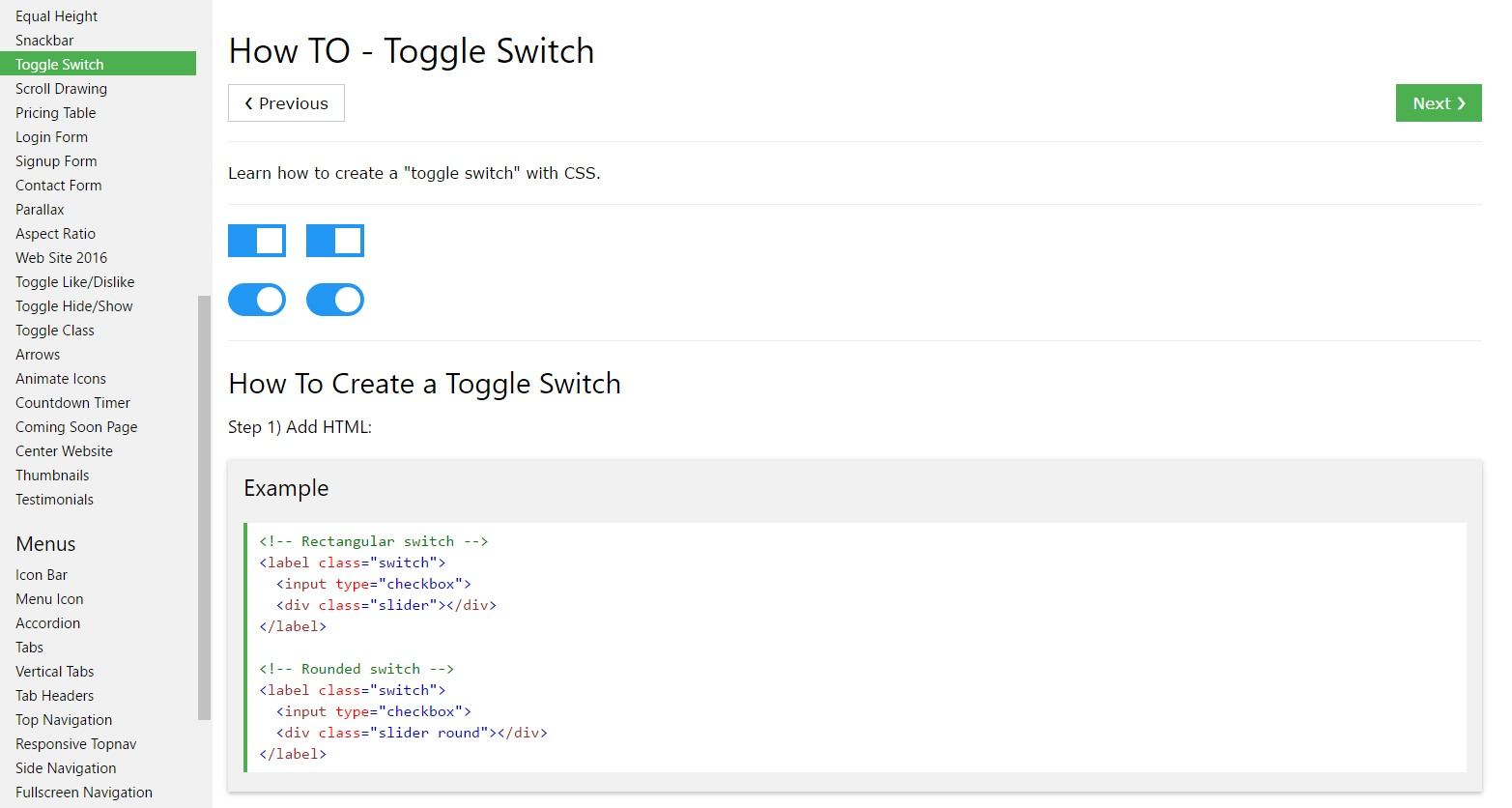 The best way to  provide Toggle Switch